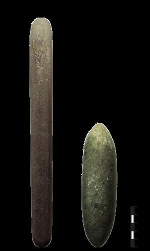 Bâton polis expérimentaux. 1-pierre dure, 2-pierre tendre.