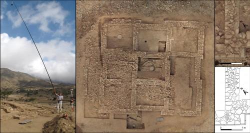 Exemple d'application de la photo aérienne à l'échelle du chantier de fouille : la production d'orthophoto géoréférencée ; la résolution est suffisante pour l'illustration, et l'exactitude de la géométrie permet d'autres travaux, comme le dessin pierre à pierre. Mission Wakarida, O. Barge et E.  Régagnon, 2012.