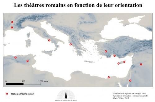 Après avoir recherché des théâtres romains sur Google Earth, création du SIG et cartographie automatique, selon un critère descripteur (orientation des théâtres) consigné dans la base de données. Réalisation de Marie Tallon, collégienne en stage à la MOM.