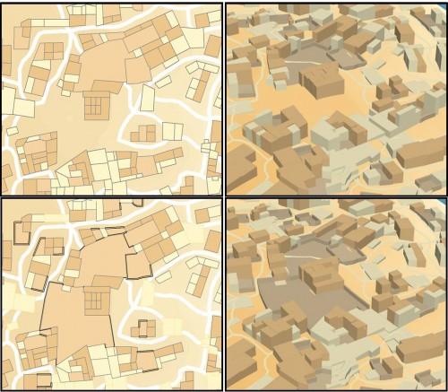 Figure 4 : Représentés en plan (à gauche) ou en 3D (à droite), 2 états (haut et bas) du travail issu de la discussion avec Axelle Rougeulle : ces deux états correspondent à deux modèles successifs dans le système d'Information.