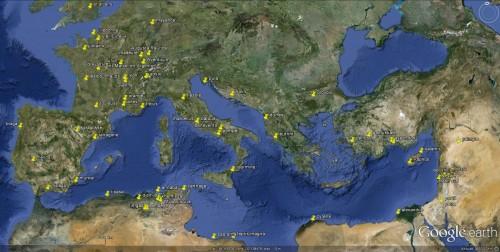 Quelques théâtres romains visibles sur Google Earth.