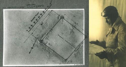 Les premiers plans archéologiques réalisés à partir de photos aériennes – ici Tell Brak – par A. Poidebard à la fin des années 1920. Portrait d'A. Poidebard préparant son plan de vol.