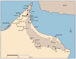 Fig. 1 : Localisation de Masafi et des principaux sites de l'Âge du Fer des Émirats Arabes Unis.
