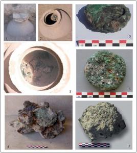 Fig. 10. Une des deux jarres aux lingots de Masafi-1. 1 : jarre fermée in situ recouverte par un mur daté de l'Âge du fer. 2, 3 : jarre et son contenu après ouverture. 4-7 : lingots et masses métalliques issus de la jarre.
