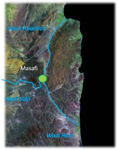 Fig. 2 : Tracé des trois wadis prenant leur source à Masafi.