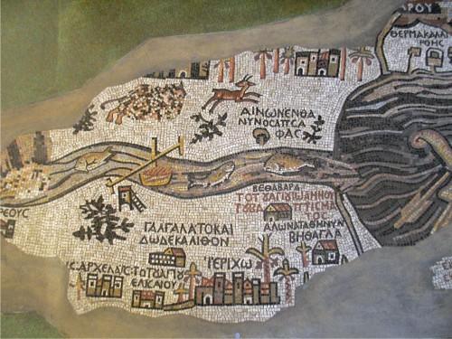 Reproduction de la mosaïque de Madaba, hall de la Bibliothèque, Maison de l'Orient et de la Méditerranée