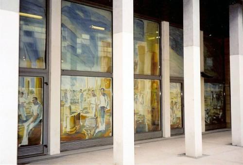 Les toiles peintes de la Cité de la Création à la MOM, vues depuis la rue Raulin (Lyon)