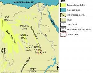 Fig.1 : Carte de l'Égypte. La zone d'étude est située dans le sud de l'Égypte, dans l'oasis de Kharga, l'une des principales oasis actuelles du désert libyque.