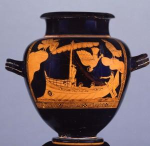 Fig. 5 : Stamnos grec du 5e s. av. J.-C. dit d'« Ulysse et les Sirène », trouvé en Étrurie © The Trustees of the British Museum – Department of Greek & Roman Antiquities.