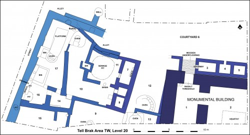 Fig. 8Plan of Area TW with monumental building (lower right) and industrial area, c 4000 BC.