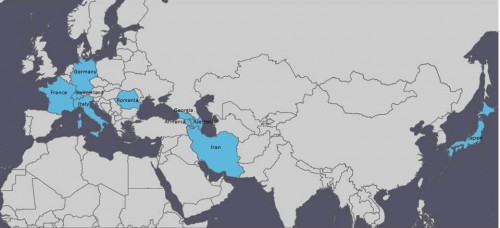 Fig. 3: Countries of the participants in the LIA-conference (highlighted in blue; www.ammap.com).