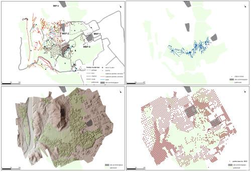 Fig.4 : Le relevé selon 3 outils : le GPS, la station totale, et le MNS issu du modèle photogrammétrique, permettant d'extraire des valeurs d'altitude.