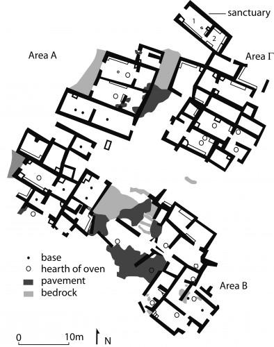 Fig. 6 : plan du village Minoen Récent IIIC de Chalasménos (d'après Gaignerot-Driessen 2014, 496 fig. 4).