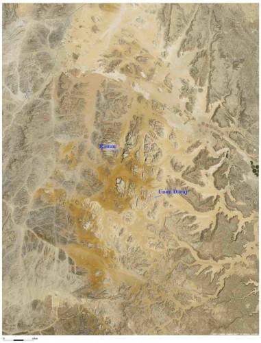 Figure 1 : la région de Wadi Ramm (Sud de la Jordanie) et la localisation du réservoir d'Umm Daraj. Image Google Earth, modifiée.