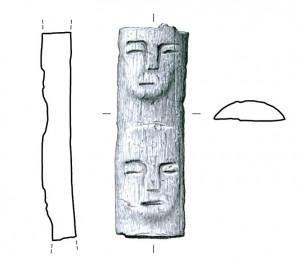 Fig. 3 : baguette en os avec les visages humains. Photo: L. Teira. Dessin : M.A. Núñez.