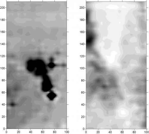 Fig.1 : Prospection électromagnétique d'un atelier de potier gallo-romain montrant bien la vision partielle du sous-sol suivant les propriétés du sol qui sont mesurées (prospection : C. Benech, UMR 5133 Archéorient)