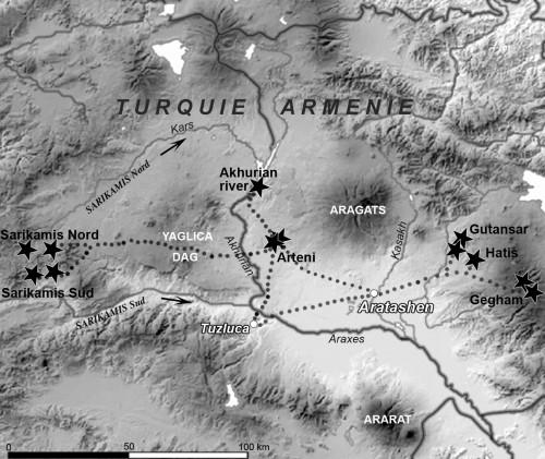 Fig. 4 : Chemins « de moindre coût » entre Aratashen et les sources d'obsidienne exploitées.