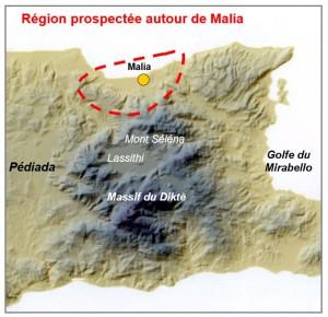 Fig. 3 : : limites de la prospection archéologique de la région de Malia (© S. Müller Celka, fond de carte O. Barge).