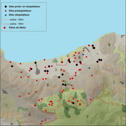 Fig. 7 : distribution des sites protopalatiaux et néopalatiaux dans les unités phytoécologiques de la région de Malia (© Etude S. Müller Celka, infographie E. Régagnon)