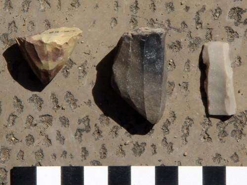 Fig. 2 :Chia Sabz Est : exemples d'outils de l'industrie lithique ramassées en surface lors de la découverte du site (Photographie par B. Helwing).