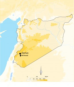 Fig. 1 : Situation géographique de Tell Aswad (Syrie).