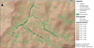 Figure 2 - Carte des vallées autour de Wakarida. ©Ninon Blond, 2015