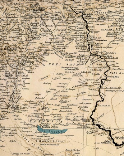 Fig . 3 : Extrait de la carte Syrie et Mésopotamie réalisée par R. Kiepert pour M. von Oppenheim en 1900.