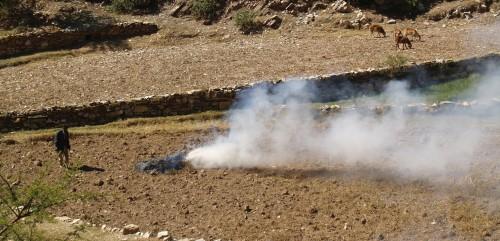 Fig. 11 : Brûlage d'herbes et de broussailles dans une parcelle de la vallée de May Ayni. © N. Blond, 2014