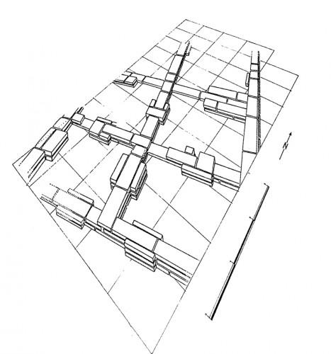 Fig. 4 : Cafer Hüyük (Turquie), chantier est, niveau VI. Architecture de briques moulées à contreforts intérieurs et extérieurs (d'après Molist et Cauvin 1991, fig. 7).