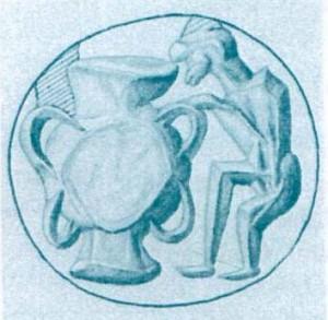 Fig. 9 : homme et pithos sur un sceau prismatique protopalatial (Corpus Minoischen und Mykenischen Siegel III, 160).