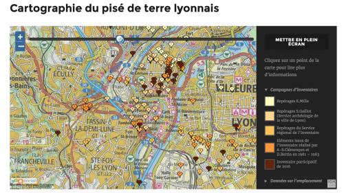 Carte collaborative qui compile l'ensemble des données issues des différentes campagnes d'inventaire. Chaque nouveau signalement est ajouté à la carte en temps réel. (http://patrimoine-terre-lyonnais.museedesconfluences.fr/index.php/cartographie-du-pise-lyonnais/)
