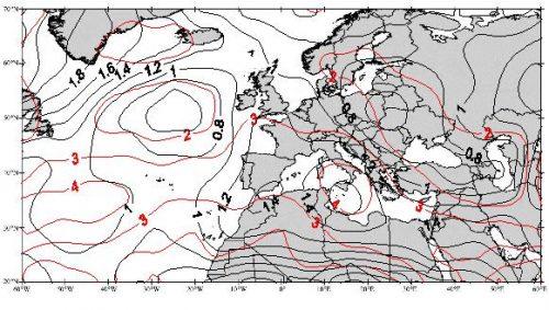 Fig. 5 : Tendance moyenne des températures du géopotentiel 500 hPa (en °C) durant la saison pluvieuse (septembre-mai).
