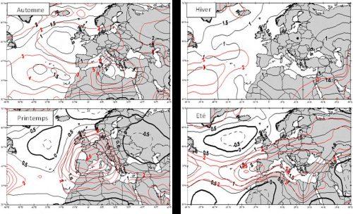 Fig. 4 : Tendances moyennes des températures du géopotentiel 500 hPa (en °C) durant les quatre saisons.