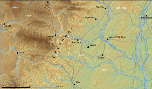 Fig.1 : Localisation de la Commanderie de Jalès, en sud Ardèche, au pied des Cévennes (E. Régagnon)