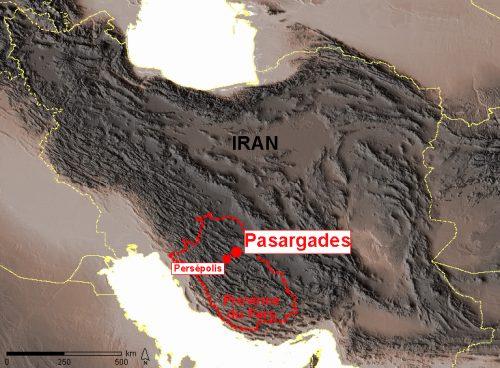 Figure 1 : Localisation de Pasargades et de Persépolis. (© Mission irano-française « Shiraz »)