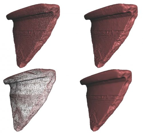 "Example of some of the issues encountered by our team: the ""mesh simplification"" of a ceramic sherd 3D model; The advantage of this step is to reduce the size of the original file. This figure illustrates several screenshots showing a problem, before and after the ""mesh simplification"". When this ""simplification"" is applied, the quality of the final 3D model is decreasing a lot. This can be seen in particular on the surface rendering, where incisions and decorations applied on the object are not that visible anymore. (@ S. Shabo)"