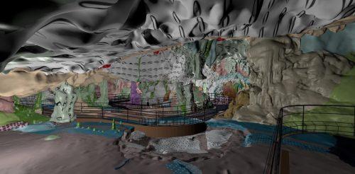 Fig. 1 : releve-geomorphologique-a-permis-aux-chercheurs-de-realiser-le-modele-3D-de-la-grotte-avec-les-differentes-textures-geologiques