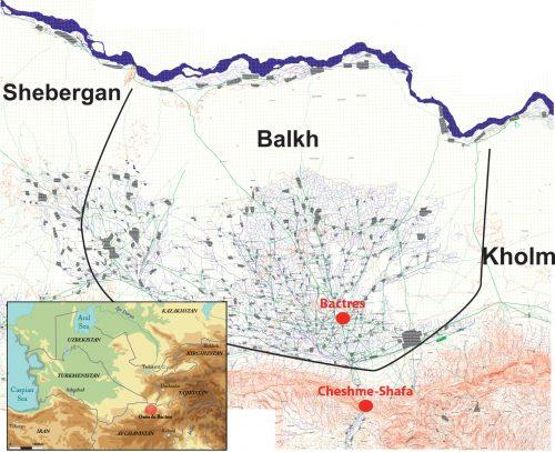 Fig. 1 : Localisation de l'oasis de Bactres (© J. Lhuillier)