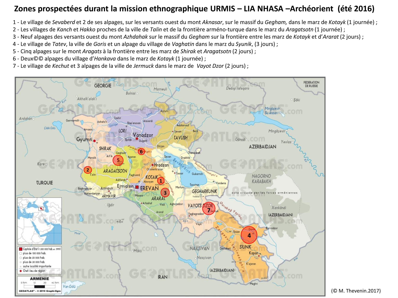 Régions prospectées durant la mission ethnologique URMIS-LIA NHASA de l'été 2016